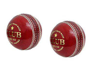 CW Club 2 Piece Leather Cricket Ball Red 156gm Approx Weight Pack of 2