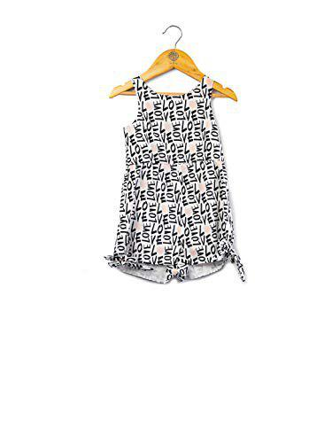 One Friday Girls Love Printed Jumpsuit - White