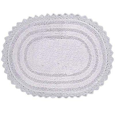 Soft Cotton Oval Crochet Bath Rug - Soft Absorbent Mat for Bathroom, Bathtub and Kitchen 17 x 24 inch- Reversible Foot Mats for Home Office Entrance - Lilac