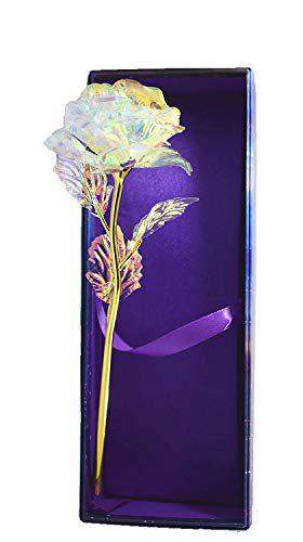 Lavanaya Silver Artificial Lighting Rose Flower And Gift Box(White,1 Piece)