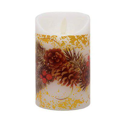 Store2508 Real Wax Body Battery Operated Moving Wick Printed LED Pillar Candle, D 7.5cm x H 12.5cm. (Design