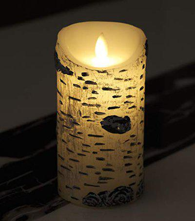 Store2508 Real Wax Body Shell Design Battery Operated Moving Wick Printed LED Pillar Candle, D 7.5cm x H 15 cm.