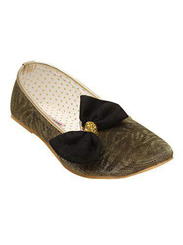 D'chica Mettalic Look Loafer Ballerinas for Girls Gold Ballet Flats (DCFB5845-P)