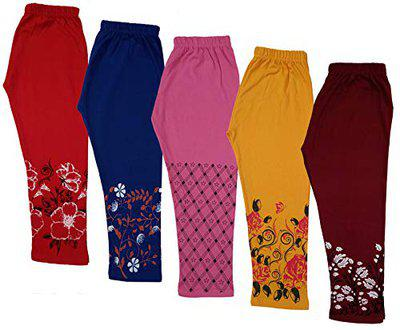 Indistar Girl's Cotton Printed Capris (MultiColor57,8-9 Years) Pack of 5