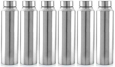 Kuber Industries CTKTC043559 Stainless Steel Water Bottle, 1000ml, 6 Pieces, Silver
