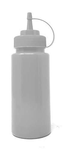 Bridge2shopping Plastic Ketchup Bottle, Sauce Squeeze Dispenser with Twist on Cap Lid (16 oz / 473 ml) White