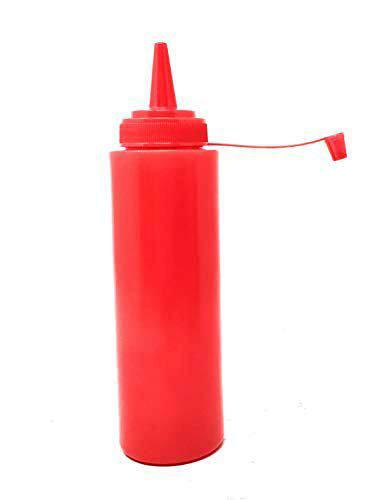 Bridge2shopping Plastic Ketchup Bottle, Sauce Squeeze Dispenser with Twist on Cap Lid (8 oz / 236 ml) RED