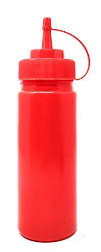 Bridge2shopping Plastic Ketchup Bottle, Sauce Squeeze Dispenser with Twist on Cap Lid (12 oz / 354 ml) RED