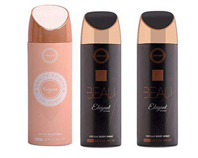 Armaf Beau Elegant & Vanity Femme Essence Deodorant Body Spray for Women - 200ml, Pack of-3