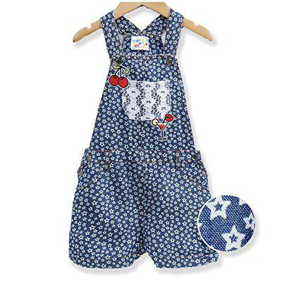 EIMOIE Girls Printed Denim Dungaree - Indigo