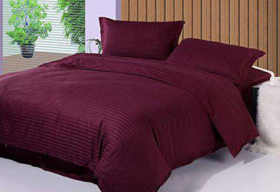Akshaan Texo Fab 100% Cotton Soft Satin Bedsheet Premium Comfort Bed-Sheet with 300 Tc King Bed Size Double Bedsheet with 2 Pillow Covers - (King Size Bedsheet Double (100 x108 inch), Color Wine