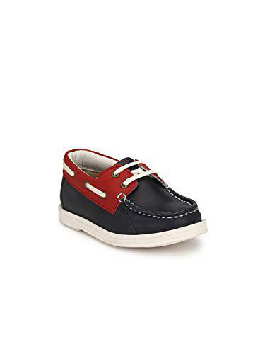 Tuskey Kid's Genuine Leather Comfortable Breathable Antiskid Jogger Running Shoes for Boys Navy Blue