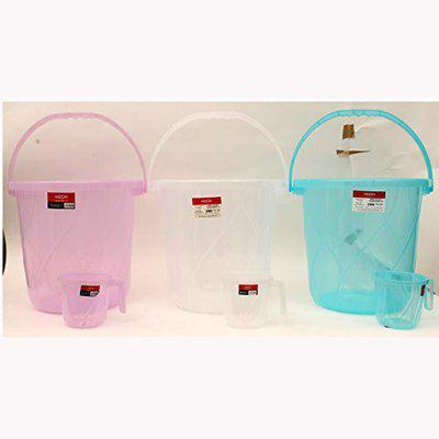 Milton Plastic Orbit Transparent 25 L Combo of 3 Buckets with Mug, Color (White, Blue, Pink)