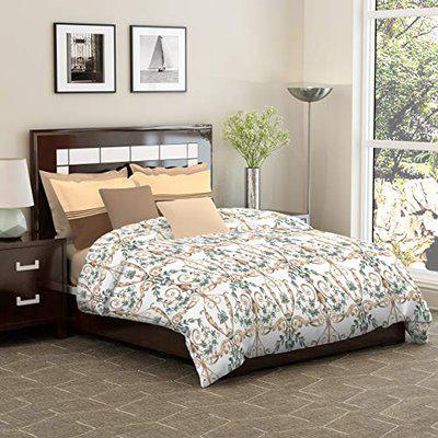 Dreamline Occasion Brown Floral Double Bedsheet with 2 Pillow Cover Set (DSN 08)