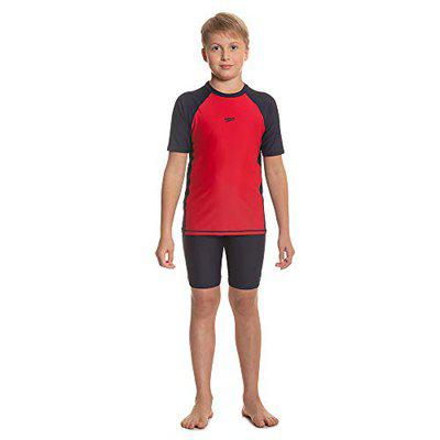 Speedo Short Sleeve Sun Top For Boys (Size: 10Y,Color: Fed Red/True Navy)