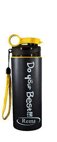 Rema - Stainless Steel Water Bottle for School Kids, Men & Women (Yellow) (Made in India) - 400ml