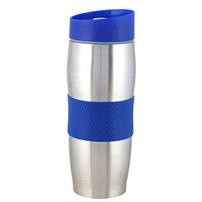 Frabble8 380 ML Double Wall Vacuum Insulated Travel Stainless Steel Coffee/Tea Flask Mug || Tumbler Hot and Cold Upto 12-24 Hours Water Bottle with Push Button and Silicone Grip (Navy Blue)