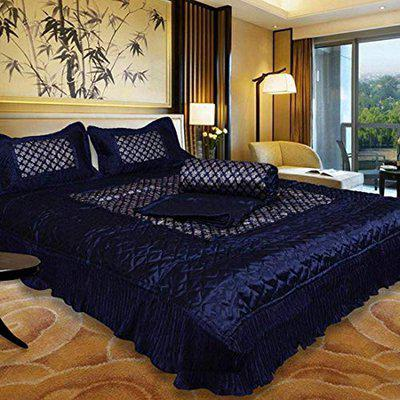 MH Maharaja Handicraft and Fashion Gold Printed Satin King Bedding Set 1 Double Bed Bedsheet, 2 Pillow Cover, 1 Double Bed Ac Comforter, Blue (Set of 4 Pcs)