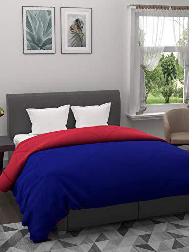 The Home Story 110 GSM All Weather Reversible Double Bed Dohar/Ac Blanket/Quilt; Blue & Pink