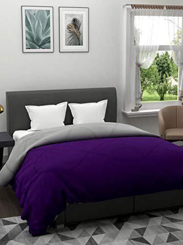 The Home Story 110 GSM All Weather Reversible Double Bed Dohar/Ac Blanket/Quilt; Purple & Grey