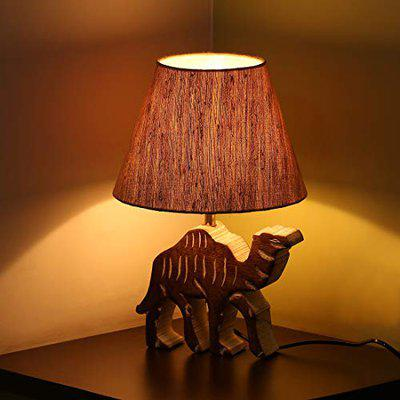 ExclusiveLane 'Imperial Camel' Handcarved Home Decorative Wooden Table Lamps for Bedroom Home Decoration Night Lamp Bedside Lamps for Living Room in Mango Wood (16 Inch, Without Bulb)