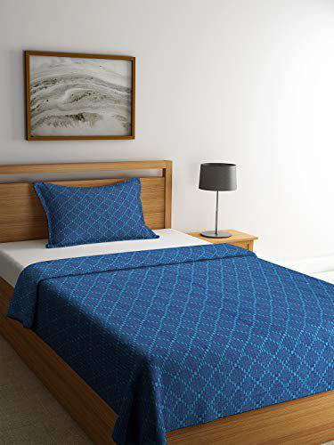 Soumya Set of 2 Self Check Design Premium Cotton Blue Color Single Bedcover Set, 1 Single Bedcover, with 1 Pillow Cover