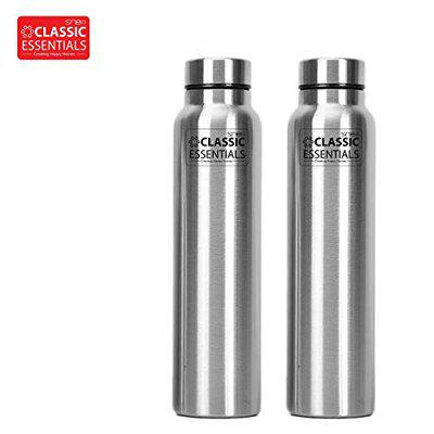 Classic Essentials Spring Stainless Steel Single Walled Fridge Water Bottle Combo Set of 2 (1000ml)