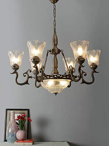 Aesthetic Home Solutions White Glass Antique Chandelier with 9 Lamps
