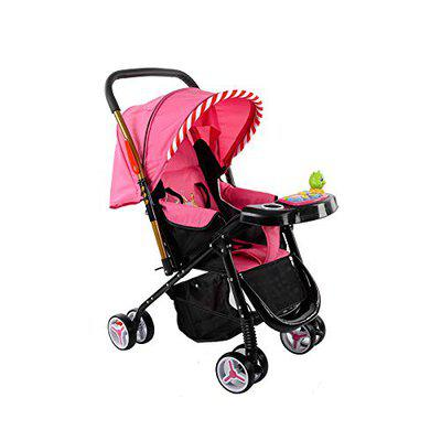 Safe-O-Kid Extra Safe Pram/Stroller (0-4 Years), Extra Large Seating Space, Foldable,Adjustable Reversible, Portable, Strong Travel Friendly Stroller for Baby/Kids, 0-4, (Pink)