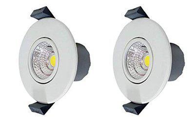Wipro 3 Watt Spotlight by WIPRO - Decorative button light movable spot WHITE (Light color- WHITE/6500K) (Pack of 2)