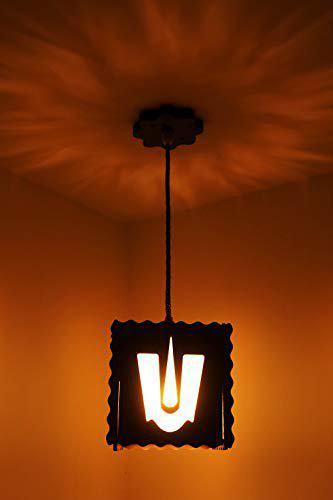 US DZIRE 501 Balaji Ceiling Light Wooden Pendant lamp Shade (with Bulb) Hanging Night Lamp for Home Dcor Living Room Office Hotel caf Restaurant etc.