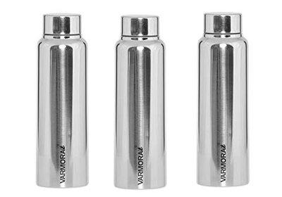 Varmora Poto 500 Ml Stainless Steel Glossy Water Bottle Silver (Pack of 3)