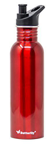 Butterfly Stainless Steel Water Bottle, 750 ml, Red (Eco Plus)
