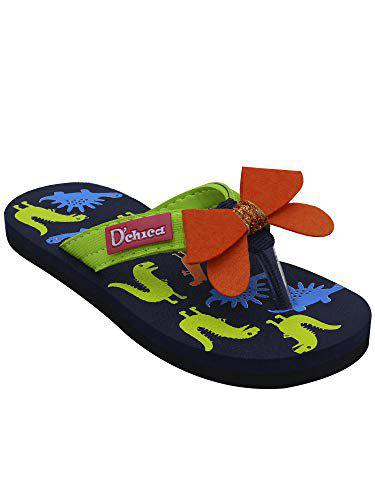 D'chica Girl's Lady Dino with Bows Flip Flops (Navy blue, Multi)