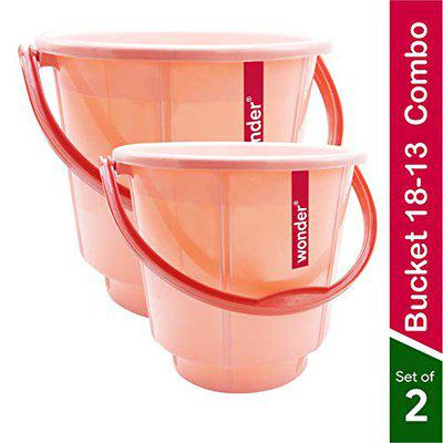 Wonder Premium Plastic Bathroom Bucket for Home/Kitchen/Office, Dual Tone, Pink Colour, 18 Ltrs & 13 Ltrs, Set of 2 Pcs, Made in India