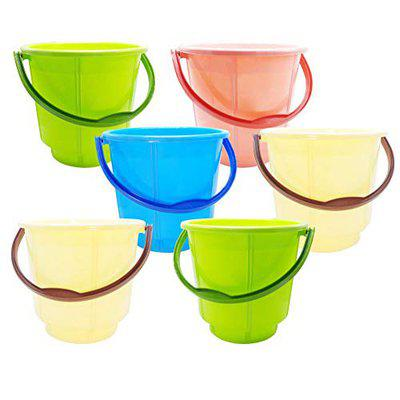 Wonder Premium Plastic Bathroom Bucket for Home/Kitchen/Office, Dual Tone, Mix Colors, 18 Ltrs, Set of 6 Pcs, Made in India