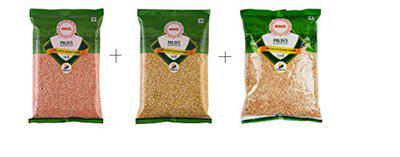 MNG Combo Pack of Moong Dhuli Dal (Moong Split Yellow Dal) + Masoor Malka Dal (Whole Red Lentil) + Arhar / Tur / Toor Dal (Split Pigeon Pea) - (500 Gm Each)