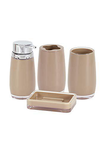 Obsessions Vesta 4Pcs Bathroom Set with PVC Material with Beige Color