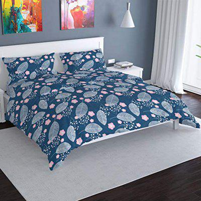 Florida 130GSM Polyester Double Bed Sheet with 2 Pillow Covers (Queen, Blue and White)