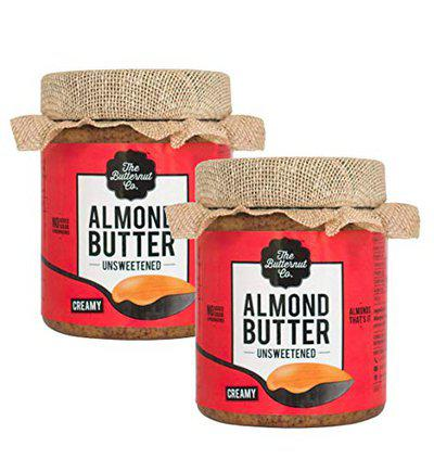 The Butternut Co. Almond Butter Unsweetened, Creamy 200 gm (No Added Sugar, Vegan, High Protein, Keto) - Pack of 2