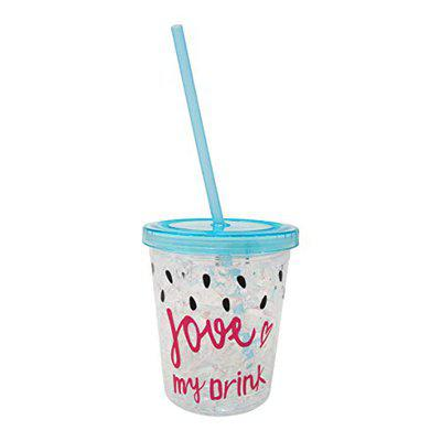 PARTEET Plastic Sipper Cup With Straw, 300ml, Set of 1, Blue