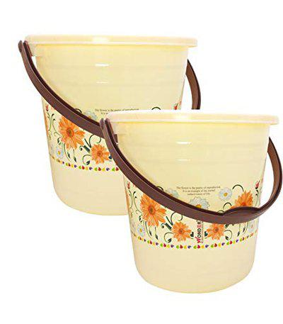 Wonder Plastic Super Bucket with Floral Print for Home/Kitchen/Office, 18 Liters, Set of 2, Cream Color, Made in India, KBS00354