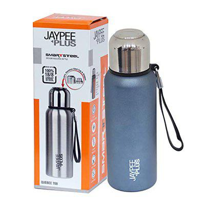 Jaypee Plus Quebec 700 Stainless Steel Water Bottle with Steel lid and Stopper, 700 ml, Blue