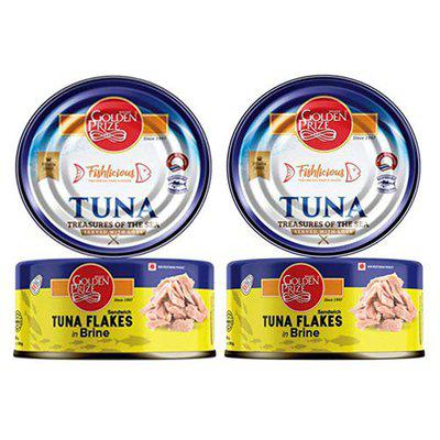 Golden Prize Sandwich Tuna Flakes in Brine (185 gm Each of Pack of 2)
