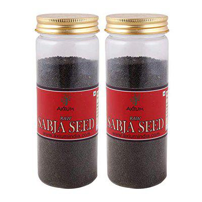 Axium Healthy Raw Sabja Seeds l Basil Seeds Organic for Weight Loss 175 gm (Pack of 2) Reduces Body Heat