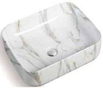 LOTUS Ceramic Modern Wash Basin | Premium Design | Table Rectangle Size 50 x 39x 13 cm |Glossy Finish Tabletop Sink| Suitable for Bathroom, Living Room, Washroom, Toilet Kitchen, M-225(Only Basin)