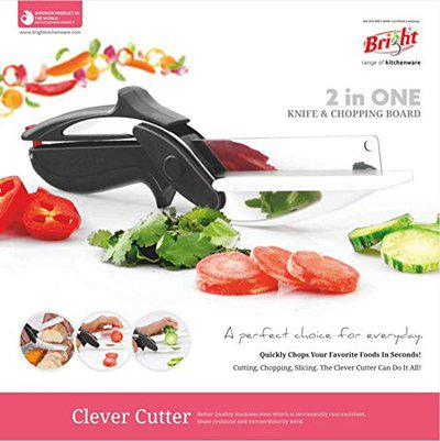 Bright 2-in-1 18/10 Steel Smart Clever Cutter Kitchen Knife Food Chopper and in Built Mini Chopping Board with Locking Hinge; with Spring Action; Stainless Steel Blade Vegetable Cutters