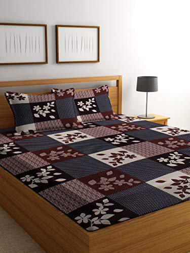 LUXURY CRAFTS Polycotton 144TC Floral Double Bedsheet with 2 Pillow Covers (Brown)