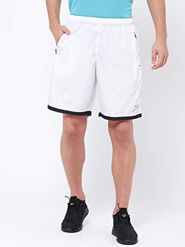 SG Men Polyester Solid Sports Shorts White