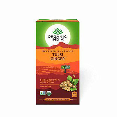 ORGANIC INDIA 25 Tulsi Ginger Tea Bags (Pack of 2) - ( Pack of 10 )